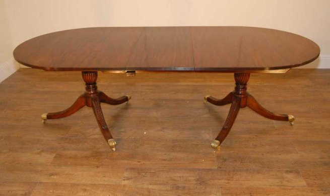 English Regency Flame Mahogany 2 Pedestal Dining Table