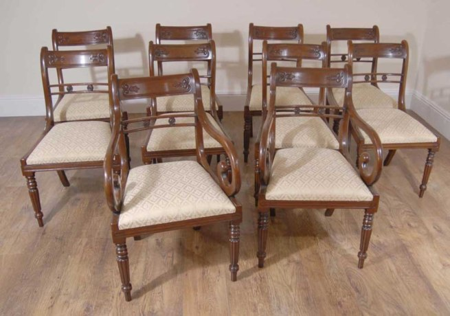 English Regency Flower Bar Mahogany Dining Chairs