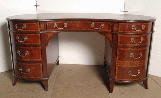 English Regency Mahogany Kidney Desk