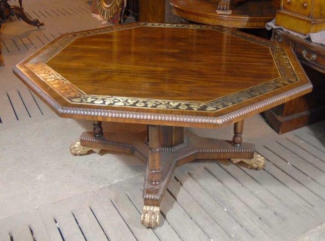English Regency Octagonal Centre Table Dining Brass Inlay
