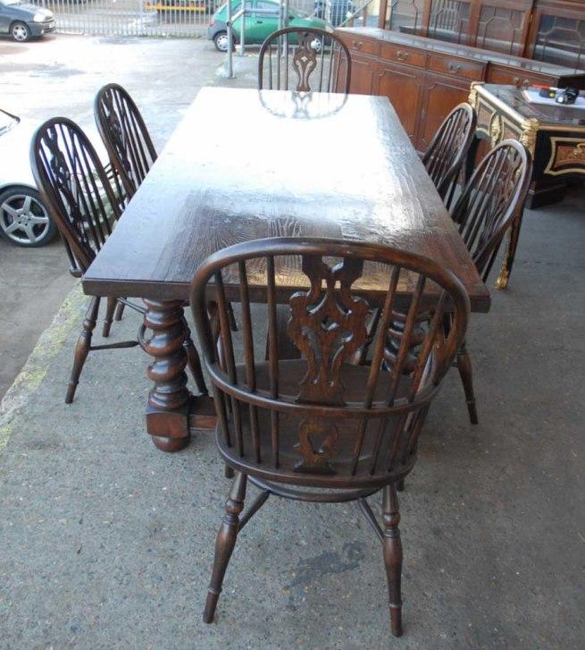 English Rustic Barley Twist Table & Windsor Chair Dining Set