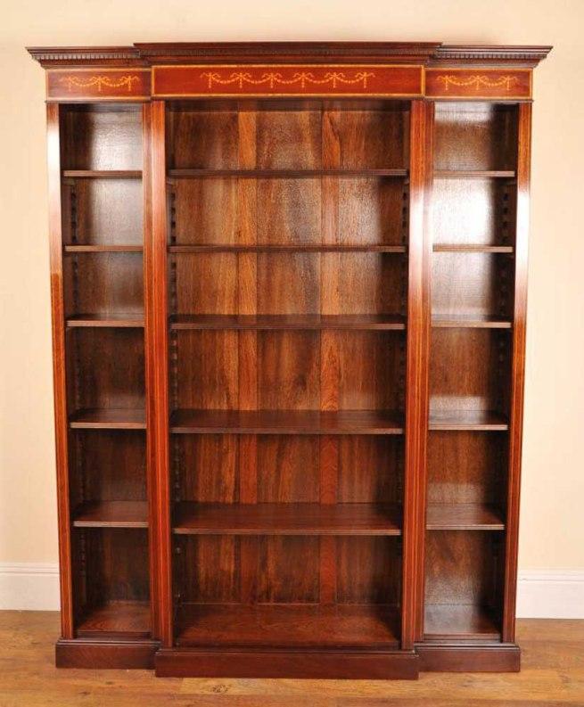 English Sheraton Open Breakfront Bookcase
