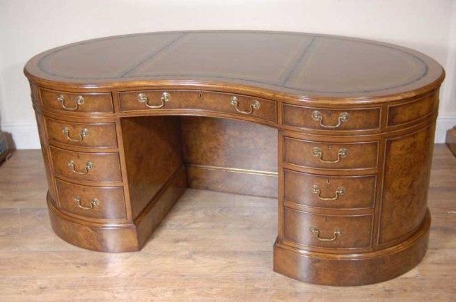 English Victorian Kidney Partners Desk Walnut