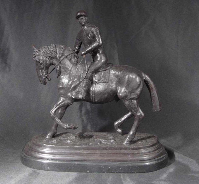 French Bronze Casting Horse Jockey Signed PJ Mene