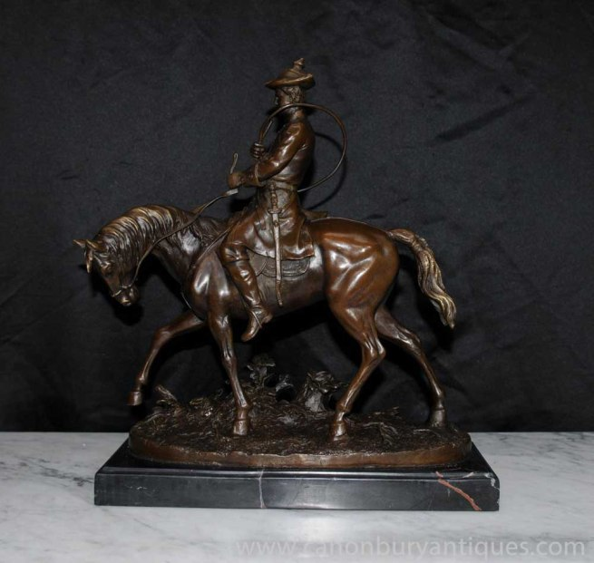 French Bronze PJ Mene Hunter Horseback Statue Figurine Signed