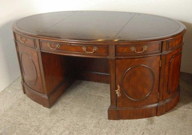 Oval Victorian Mahogany Partners Desk