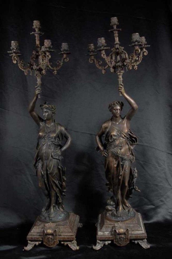 Pair 3 ft French Bronze Gregoire Candelabras Torcheres