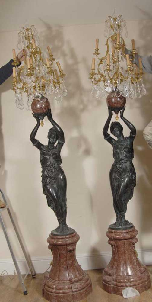 Pair 9ft Italian Female Blackamoor Candelabras Torcheres