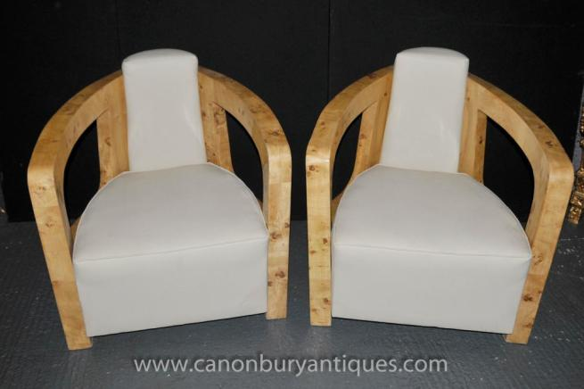 Pair Art Deco Club Chairs Arm Chair Vintage Blonde Walnut