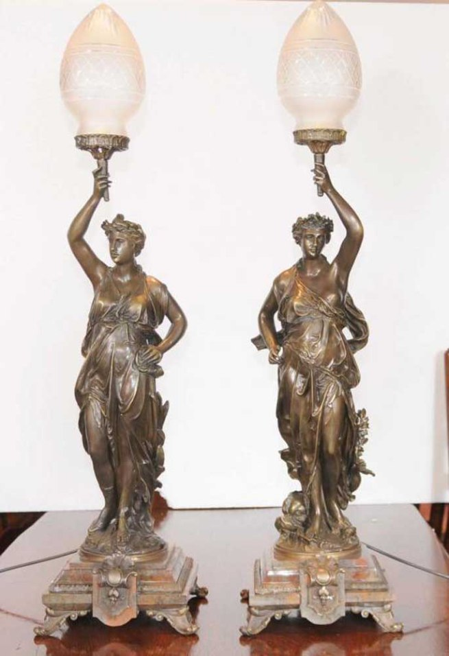 Pair Bronze Gregoire Candelabras French Lights Signed