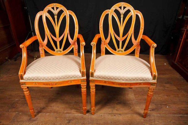 Pair Hepplewhite Arm Chairs Dining Chair Furniture Regency