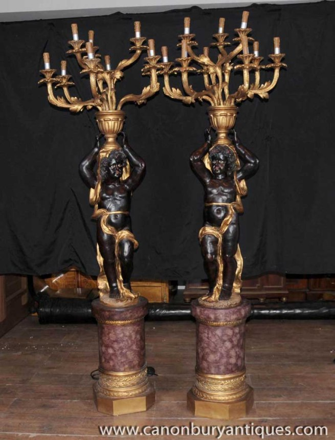 Pair XL Carved Italian Cheurb Candelabras Blackamoors Figurines Lamps Lights