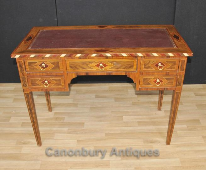 Regency Knee Hole Desk Marquetry Inlay Writing Table Bureau