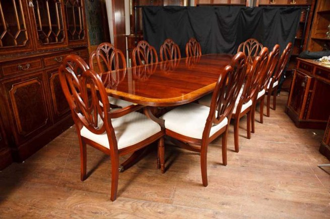 Regency Pedestal Table & Set Hepplewhite Dining Chairs Suite