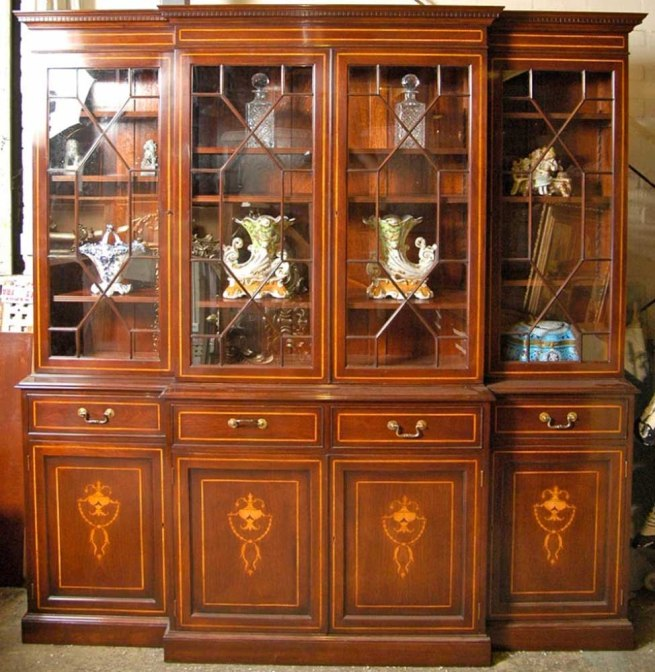 Regency Sheraton Breakfront Bookcase Mahogany Inlay