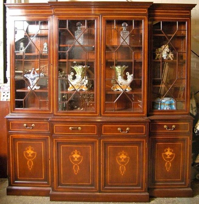 Regency Sheraton Breakfront Bookcase Mahogany Inlay