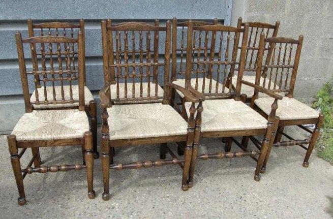 Set 8 English Oak Spindleback Chairs Farmhouse Spindle