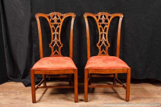 Set 8 Walnut Chippendale Dining Chairs English Chair Diners