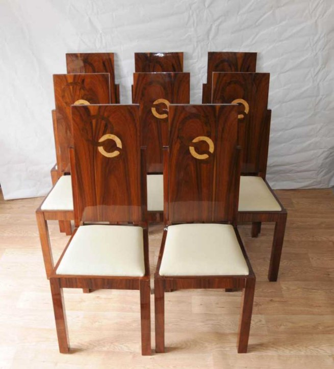 Set Art Deco Dining Chairs Inlay Chair 1920s Furniture