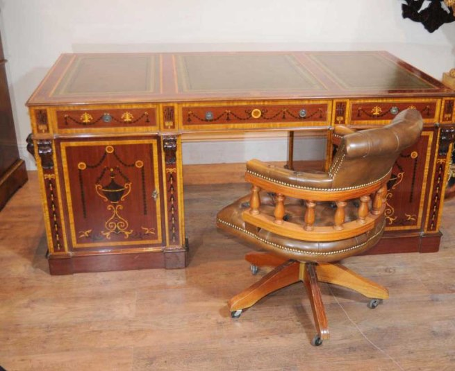 Sheraton Partners Desk Writing Table Regency Inlay Bureau
