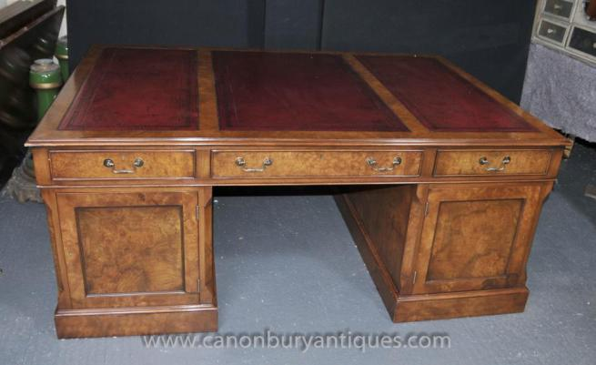 Walnut Victorian Partners Desk Pedestal Desks