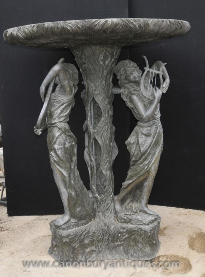 XL French Bronze Maiden Fountain Garden Water Feature