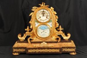 Clássico francês Ormolu Calendário Relógio Porcelana