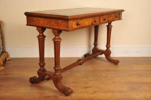 Antique Desk Victorian Burr Walnut Table