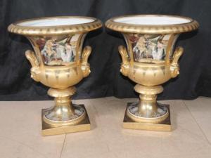 German Dresden Porcelain Roman Campana Urns Urn Planter