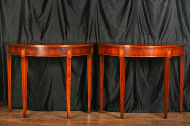 Pair Sheraton Demi Lune Console Tables Hall Table