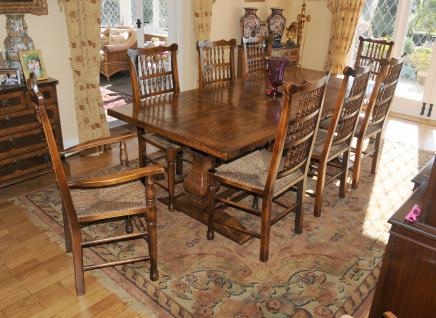 Kitchen Refectory Table Spindleback Chair Set Dining