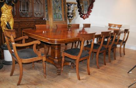 Walnut Regency Dining Table & Chairs Set Suite