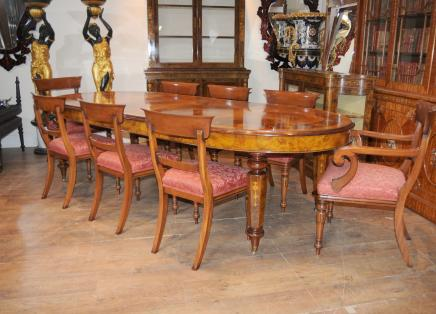 Victorian Dining Table William IV Chairs Set Walnut
