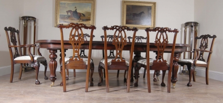 Victorian Dining Table & Gothic Chippendale Chair Set