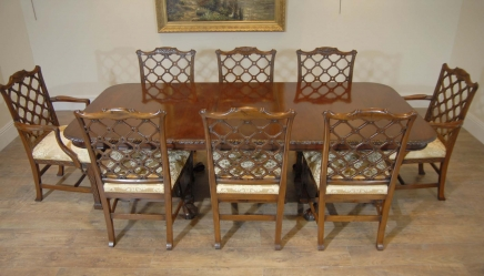 Chippendale Mahogany Table & Gothic Chair Dining Set
