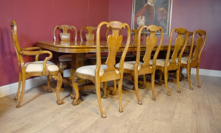 George III Walnut Dining Table & 10 Queen Anne Chairs