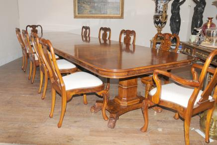 Regency Table and Chairs Walnut Dining Set Queen Anne Chair