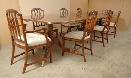 Regency Dining Set Pedestal Table and Hepplewhite Chairs