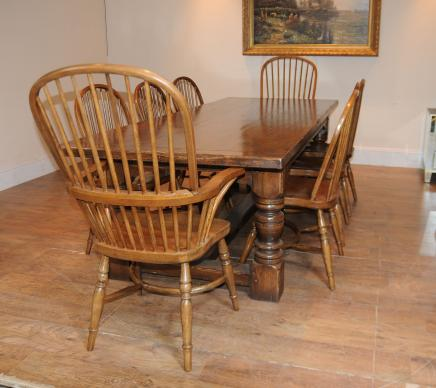 Oak Refectory Table Windsor Chair Set