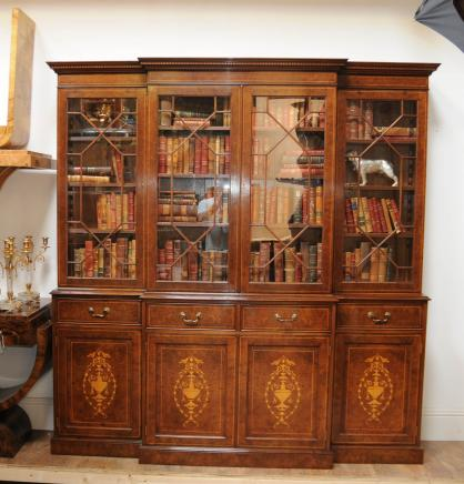 Regency Breakfront Bookcase Burr Walnut