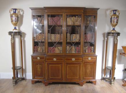 Mahogany Breakfront Bookcase Book Case