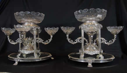Sheffield Silver Plate Epergnes Cut Glass
