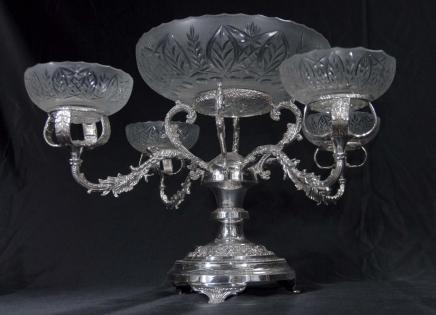 Silver Plate Rococo Dish Epergene Centrepiece