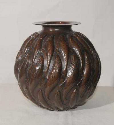 Art Nouveau Bronze Lalique Fish Bowl