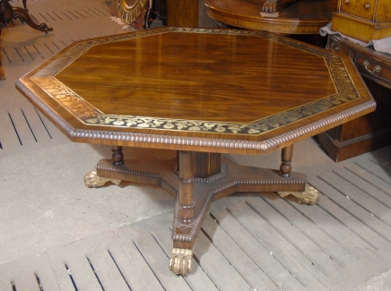 Regency Octagonal Centre Table Dining Brass Inlay