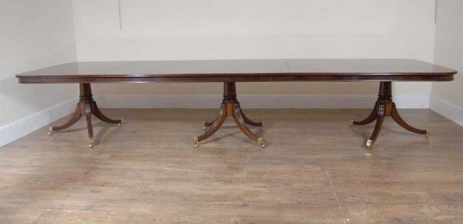 English Regency Triple Ped Dining Table Tables