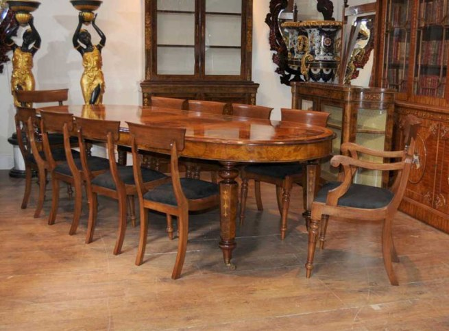 Victorian Walnut Table & Chair Dining Set Suite