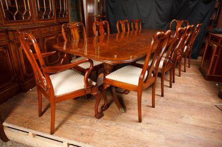 Walnut Dining Set Regency Table & Queen Anne Chairs
