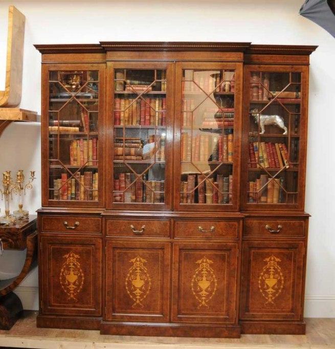 Regency Breakfront Bookcase Burr Walnut Sheraton Book Case