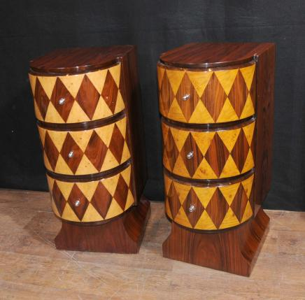 Pair funky deco bedside cabinets table chests retroebay for Table de nuit art deco